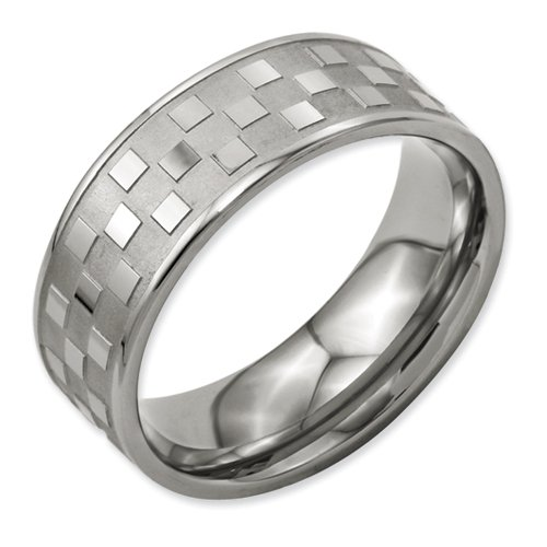 Titanium 8mm Satin and Polished Checkered Band Size 11.5