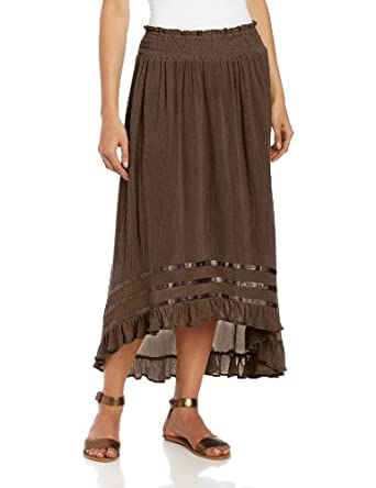 Chaudry Women's Long High Low Skirt Option, Chocolate, Small