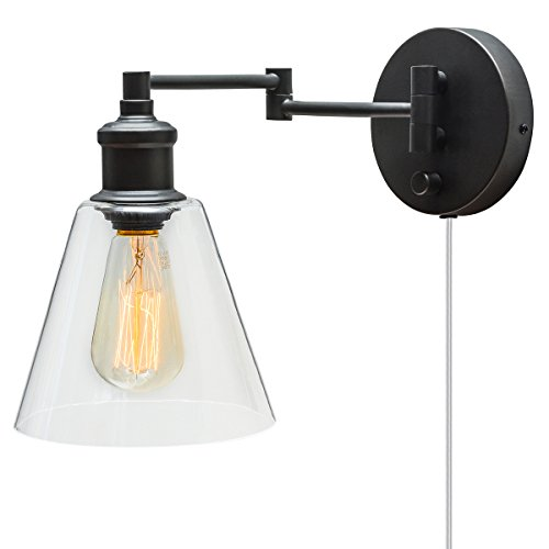 Globe Electric 1-Light Plug-In or Hardwire Industrial Wall Light, Dark Bronze Finish, On/Off Rotary Switch on Canopy, 6 Foot Clear Cord, 1x 60W Max E26 Bulb (sold separately), 65311 (Hanging Lamps Plug In compare prices)