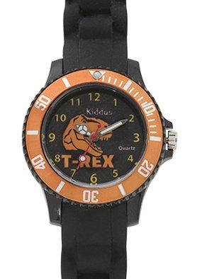Kinder Armband Uhr für Junge mit DINOSAURIER, Silikonarmband, wasserdicht (5 ATM), hohe Qualität Quarz Mechanismus Seiko, Batterie Sony, in Geschenk-Box, Kiddus KI10111