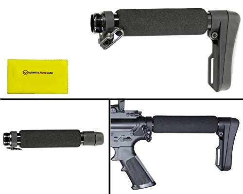 ACE ULTRALIGHT Entry Length ARUL-E Skeleton Light Weight Fixed Stock Buttstock with Cheek Weld Foam Rest and Rubber Butt Pad Buttpad + Ultimate Arms Gear Silicone Lubricated Cleaning Cloth (Ace Skeleton Buttstock compare prices)