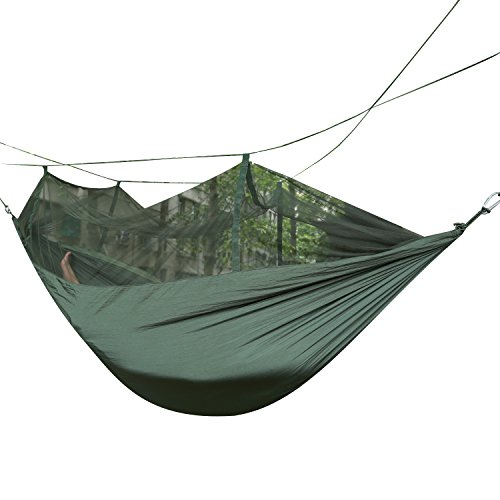 Weanas® Portable High Strength Parachute Fabric Skeeter Beeter Mosquito Traveler Pro Hammock With Zippered Mosquito Net For Outdoor Camping Travel (Olive) front-32770