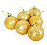 Christmas Baubles 60 mm Diameter golden Christmas balls, set of 6