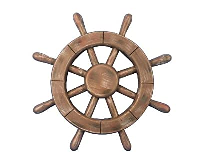 BEAUTIFUL HANDCARVED /& PAINTED WOOD WELCOME ABOARD SHIPS WHEEL NAUTICAL DECOR!