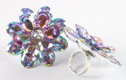 Ladies Purple Double Flower Metal Adjustable Ring with Multicolor Shine