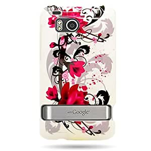 Hard Snap-on Shield With RED FLOWERS ON WHITE Design Faceplate Cover Sleeve Case for HTC 6400 INCREDIBLE HD/THUNDERBOLT (VERIZON) [WCA565]