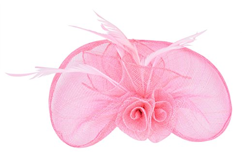 [Fascinator Hat Hair Clip Mini Top Hat Net Flower Sinamay Pillbox Hat for Women] (Pink Top Hats)
