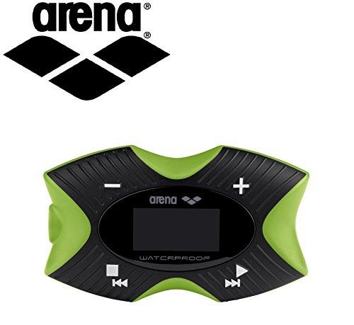 Lettore MP3 impermeabile per nuoto subacqueo Arena Pro, 4 GB, funzione pedometro, Radio FM, Display OLED, impermeabile fino a 3 metri, resistente al cloro e sale, galleggianti)
