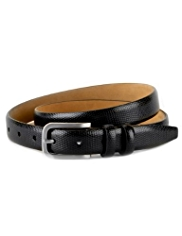 Leather Faux Snakeskin Slim Belt
