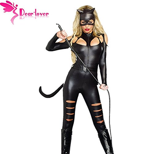3 Pieces Suit Set Cosplay Halloween for Women Bodysuit Kit Animal Cat Women ()