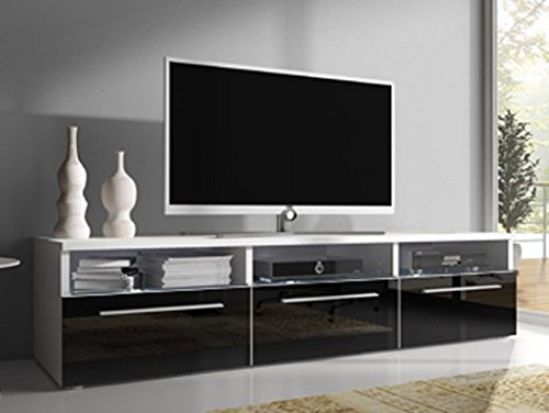 Muebles Bonitos - Mueble TV modelo Diana negro sin LED (1,5 m)