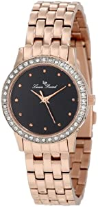 Lucien Piccard Women's 11696-RG-11 Monte Velan Black Textured Dial Rose Gold Ion-Plated Stainless Steel Watch