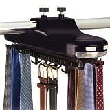 Revolving Motorized Lighted Tie & Belt Rack Hooks Organizer-holds 64 Ties and 8 Belts