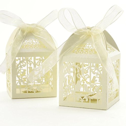 Gospire 50pcs Deluxe Party Wedding Favor Super Gift Laser Cut Pearl Paper Ribbon Candy Boxes Gift Box Bombonera Classical Bird Style (Titanium White)