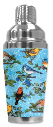 Mugzie® Brand 16-Ounce Cocktail Shaker With Insulated Wetsuit Cover - Song Birds