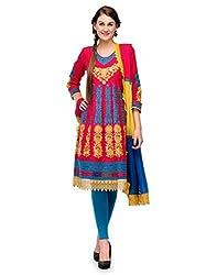 Cenizas Women Chiffon Dress Material Dress Material (Gold2002 _Multi-Coloured _Free Size)