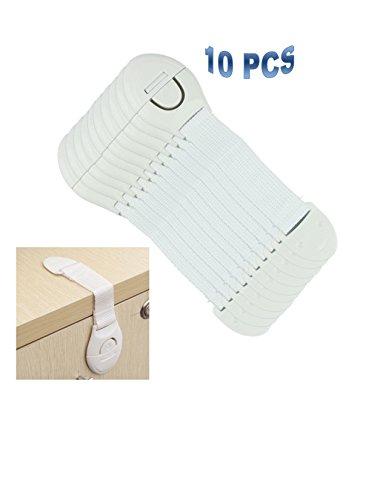 10 PCS Rivchell Baby Safety Cabinet Toilets Appliances Latches Drawer Door Cabinet Cupboard Locks Straps Toddler Baby Kids Child Safety Drawer Cupboard Box Fridge Cabinet Door Lock