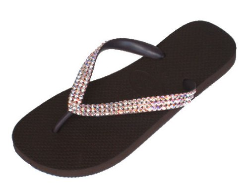 Cheap BROWN CRYSTAL AB Swarovski Crystal Havaianas Flip Flops Sandals Thongs sizes 5-11 (B002HN7XT4)