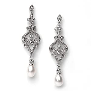 Bridal Earrings, Silver Vintage Chandelier Earrings with Pearl Drop 685