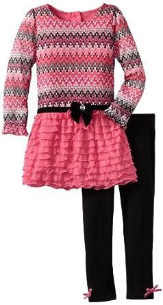 Young Hearts Little Girls' 2 Piece Zig Zag Bow Tunic Legging Set, Dark Pink, 4