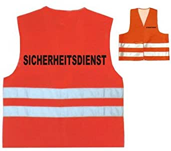 Warnweste / Warnschutzweste / Sicherheitsdienstweste BEDRUCKT auf BRUST und RÜCKEN mit SICHERHEITSDIENST (schwarz)