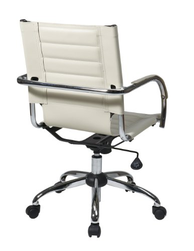 Work Smart / Ave Six Trinidad Office Chair with Fixed Padded Arms and Chrome Finish, Cream