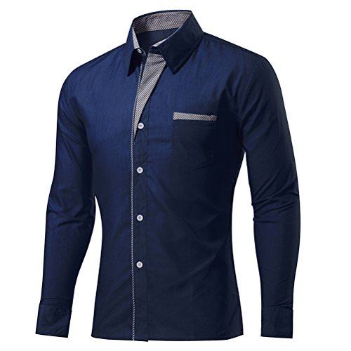 Laixing Qualità Men's Fashion Slim Fit Dress Shirt Casual Formal Shirt Office Long Sleeve A001