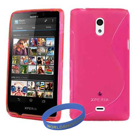 Worldshopping Hot Pink S Line Rubber Skin Soft TPU Gel Case Cover For Sony Ericsson LT30P Xperia T + Free Accessory