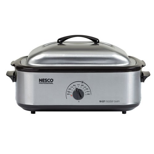 Nesco 4818-25PR 18-Quart Professional Roaster Oven, Stainless Steel Base and Lid, Porcelain Cookwell