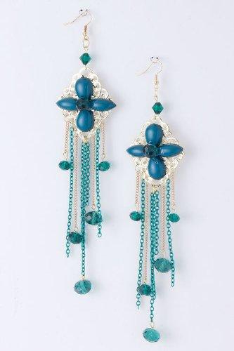 Karmas Canvas Chain Fringe Bead Earrings (Green)