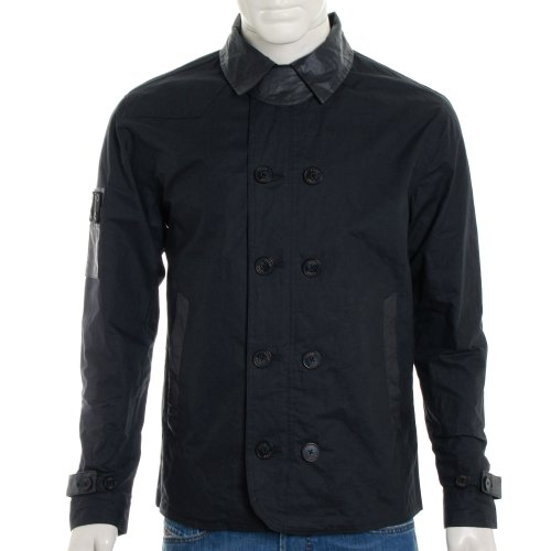 Luke 1977 Mens Evans Double Breasted Technical Jacket - Dark Navy - S
