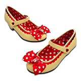 Minnie Mouse Yellow Polka Glittery Bow Shoes For Girls - Size 2/3