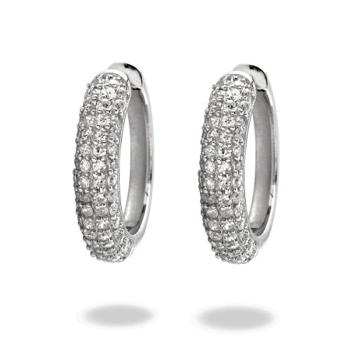 Rafaela Donata Damen-Creolen Classic Collection 925 Sterling Silber Zirkonia weiß  60800274