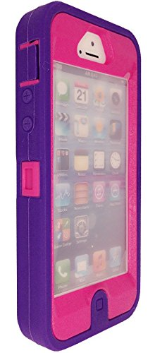 IPhone 5 case, Iphone 5S case, OKASE(TM) iPhone Durable Protective Hybrid Armor Dual Layer [Built-in Screen Protector] Heavy Duty Shockproof Dustproof Cover Case for iphone 5/5S/5SE [Original Packaging] (Purple on Hot-Pink) (Hot Pink Iphone 5 Case compare prices)