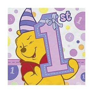 Winnie the Pooh Girl's 1st Birthday Small Napkins (16ct) - 1