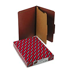 Smead : Pressboard Classification Folders w/Self Tab, Legal, 4-Section, Red, 10/Box -:- Sold as 2 Packs of - 10 - / - Total of 20 Each