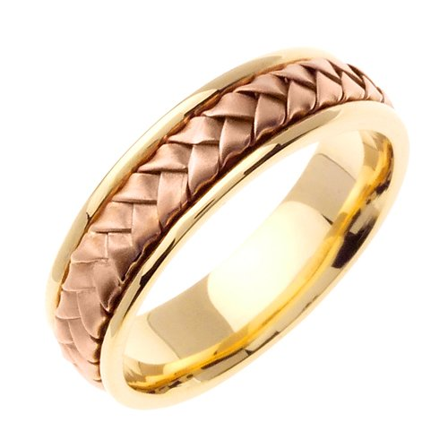 14K Two Tone Solid Gold Hand Braided Wedding Ring Band for Men (Sizes 9 - 14)