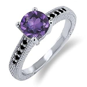 1.47 Ct Round Purple Amethyst Black Diamond 925 Sterling Silver Engagement Ring