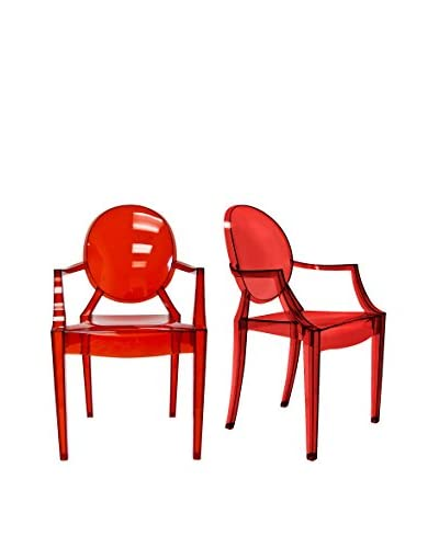 Aeon Set of 2 Specter Arm Chairs, Translucent Red