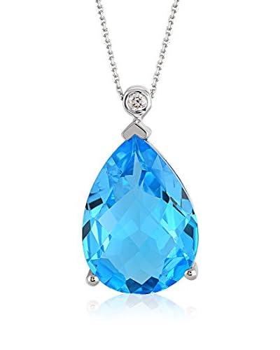 Divas Diamond Conjunto de cadena y colgante Diamond Gold Blue Topaz