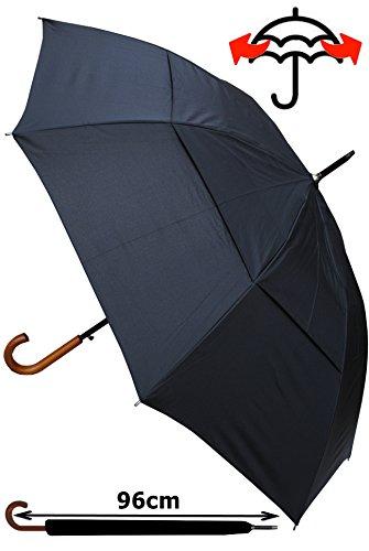 COLLAR AND CUFFS LONDON - Ombrello Classico - MOLTO FORTE - Antivento - Automatico - Doppio Telo Per Combattere I Danni Causati Da Ribaltamento - Impugnatura in Legno - 134cm Tela - Nero - Grande