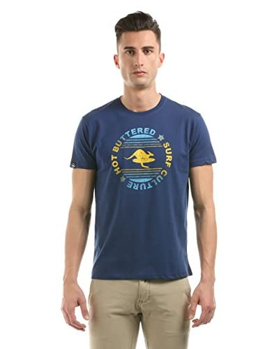 Hot Buttered Camiseta Manga Corta Surf Culture Azul Oscuro