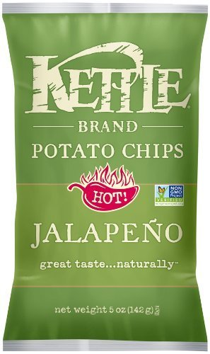 Kettle Brand Potato Chips Hot! Jalapeno, 5-Ounce (Pack of 15) by Kettle [Foods]