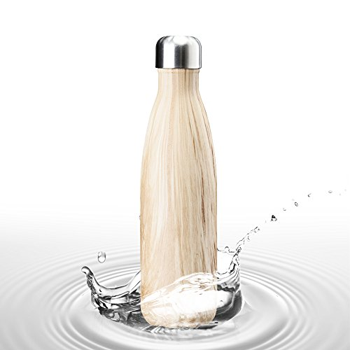 LOHOME Double Wall Vacuum Water Bottle - 17 Oz Wood Design Stainless Steel Material Insulated Water Cup [Hot 12 hours - Cold 24 hours] Cola Shape Drinking Bottle for Outdoor Sports Hiking Cycling