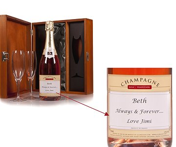 Personalised Pink Champagne with Glass Flutes