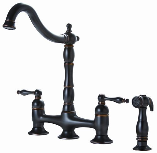 Premier 110702 Charlestown Two-Handle Bridge Style Kitchen Faucet with Matching Side Spray, Parisian Bronze (Charleston Kitchen compare prices)