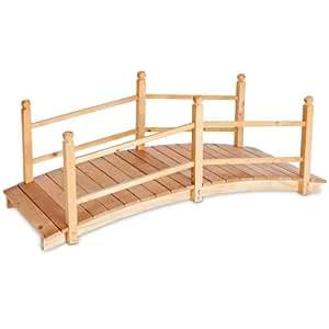 Tectake Pont de jardin pont d'étang Passerelle en bois env. 140cm de long