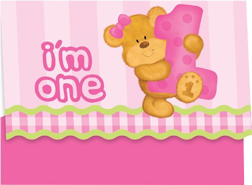Creative Converting Bears First Birthday Party Invitations, Pink, 8 Count - 1