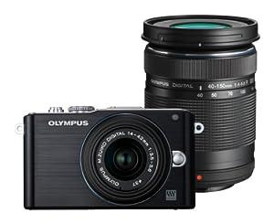 Olympus PEN E-PL3 DZK Kit Compact à objectif interchangeable 12,3 Mpix Noir + Objectifs 14-42 mm II + 40-150 mm Noir