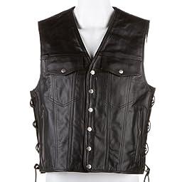 River Road Frontier Leather Vest (XX-LARGE) (BLACK)